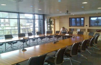 Clydesdale bank boardroom table, stripped and re-polished